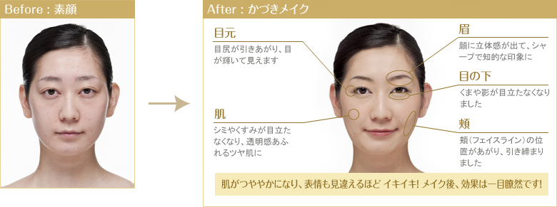 Before : 素顔 After : かづきメイク
